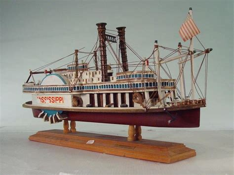 Steam Boat Model by Southern Style Wooden Mississippi Steamboat Model
