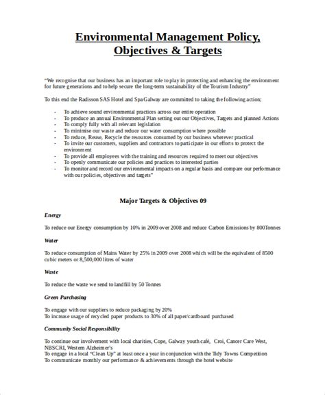 and policy template 7 environmental policy templates free premium templates