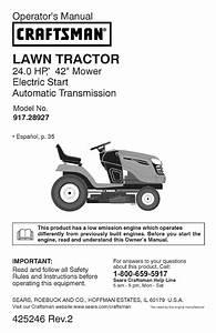 Craftsman Lawn Mower 917 28927 User Guide