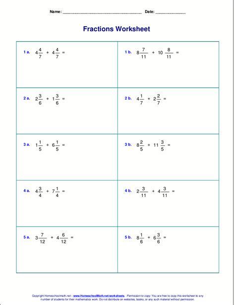 worksheets for fraction addition