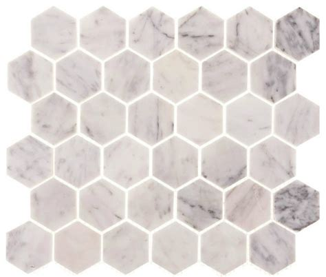 carrara marble 2 quot hexagon polished tile 12x12