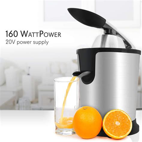 lemon juicer machine press lime fruit handle orange masticating power squeezer stainless steel electric citrus juice cone nutrichef 160w grapefruit