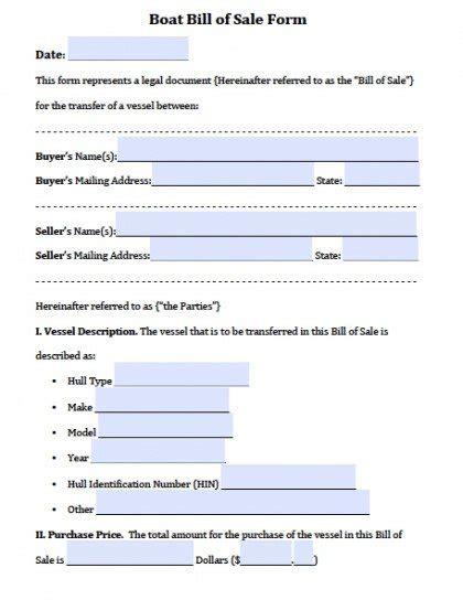 boat vessel bill  sale forms  word
