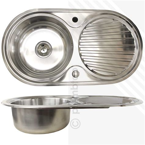 Single Bowl 10 Stainless Steel Inset Kitchen Sink Round