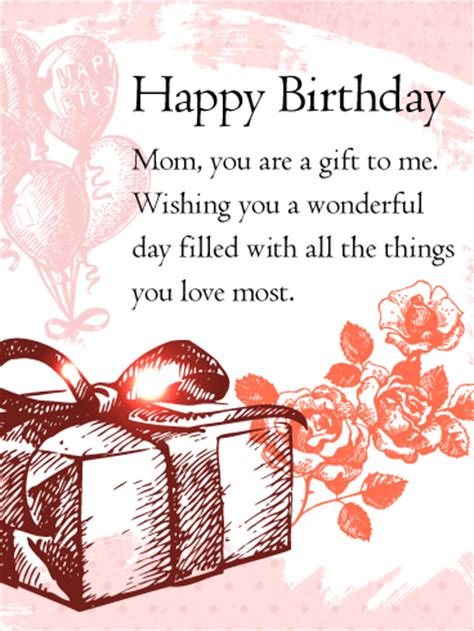 gift happy birthday wishes card  mom
