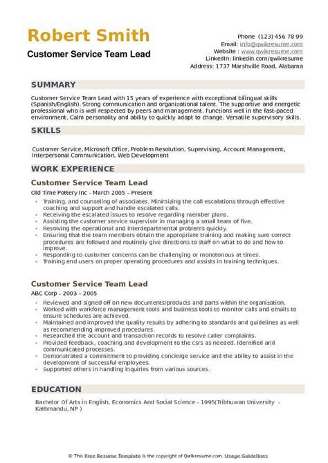 Customer Service Team Leader Questions by Team Leader Resume Exle Unforgettable Team Lead Resume
