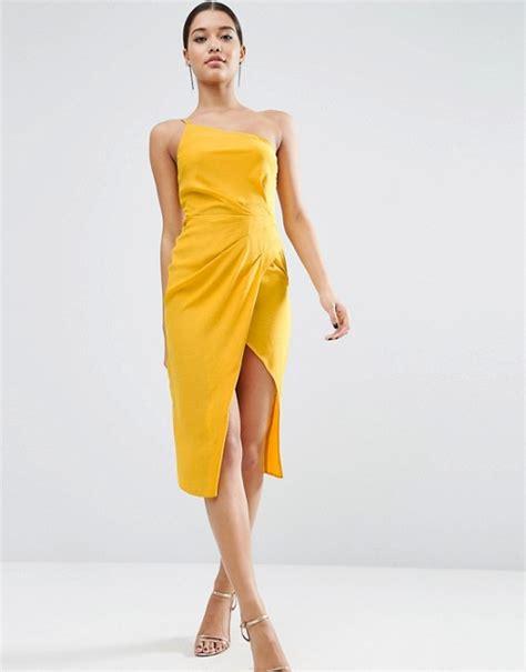 Drape Dress With One Shoulder - asos asos one shoulder drape midi dress