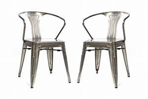Chaise Design Metal : chaises miliboo lot de 2 chaises design industriel m tal effet inox factory ventes pas ~ Teatrodelosmanantiales.com Idées de Décoration