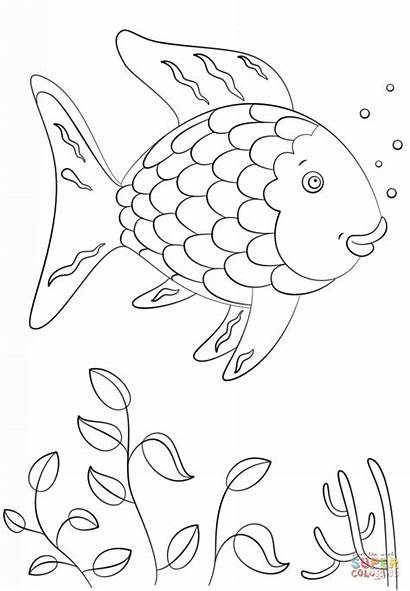 Fish Rainbow Template Coloring Printable Pages