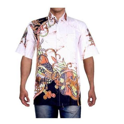 baju pria atasan pria kemeja pria batik pria hem putih motif batik elevenia