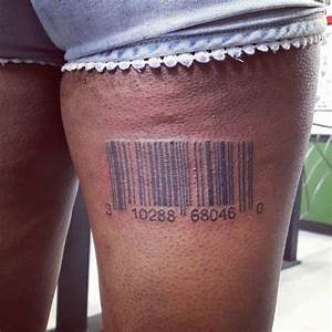 Back Thigh Barcode Tattoo - CreativeFan
