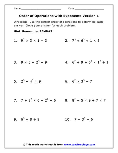 Order Of Operations Worksheet With Exponents Free Worksheets Library  Download And Print