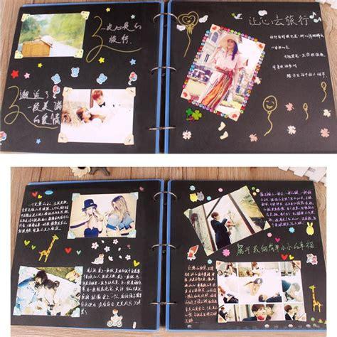 wooden children photo album scrapbook handmade baby scrapbooking diy pinkblue