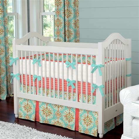 coral and aqua crib bedding carousel designs babybedhead giveaway project nursery