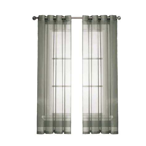 wide curtain panels window elements sheer voile charcoal grommet