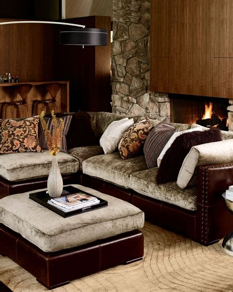 chenille leather sectional sofa five set - Chenille And Leather Sofa