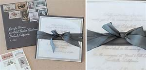 Ribbon tied wedding invitation with vintage stamps tiny for Wedding invitations tied with ribbon