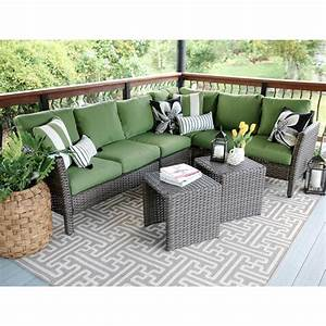 canton 6 piece wicker outdoor sectional set with green With home depot sectional sofa outdoor