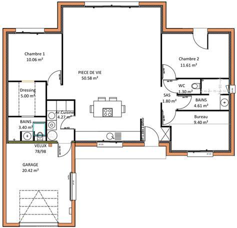 plan maison 2 chambres plain pied les constructions de maisons en projet en loire atlantique 44