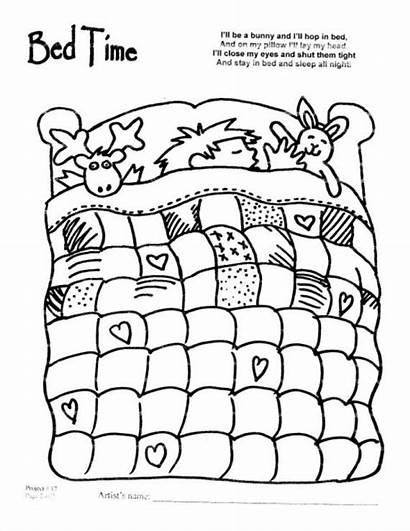 Coloring Bedtime Cartoon Quilt Bed Lit Google
