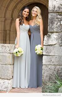 light gray wedding dress light and gray bridesmaid dresses