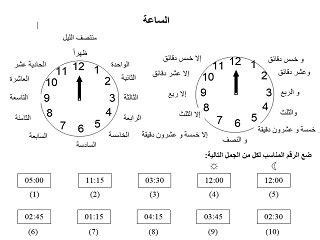 telling time worksheet aldaad arabic culture