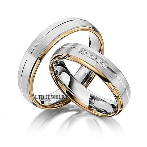his hers wedding rings 14k two tone gold matching wedding bands with diamond ebay