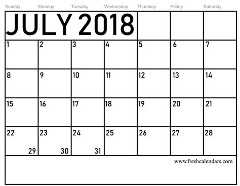 july calendar printable template source