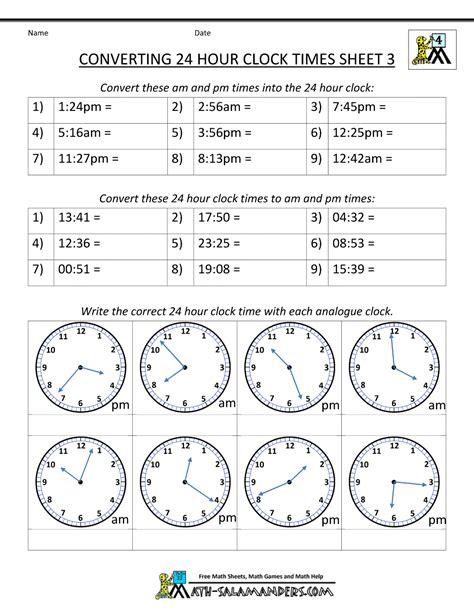 grade  math worksheets clock