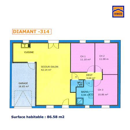 plan de maison 3 chambres salon plan de maison individuelle plain pied