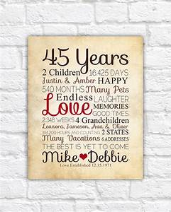 anniversary gift for parents 45 year anniversary 45th year With 45 wedding anniversary gifts