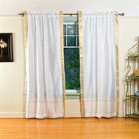 white rod pocket sheer sari curtain drape panel pair