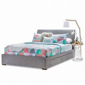 Seattle Queen Bed Frame w/ 4 Storage Drawers Grey | Buy ...