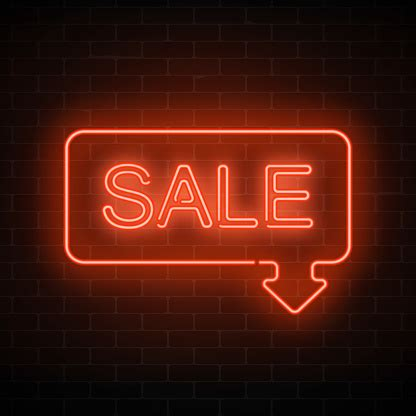 Neon Sale Sign In Frame With Arrow In Red Color Inviting ...