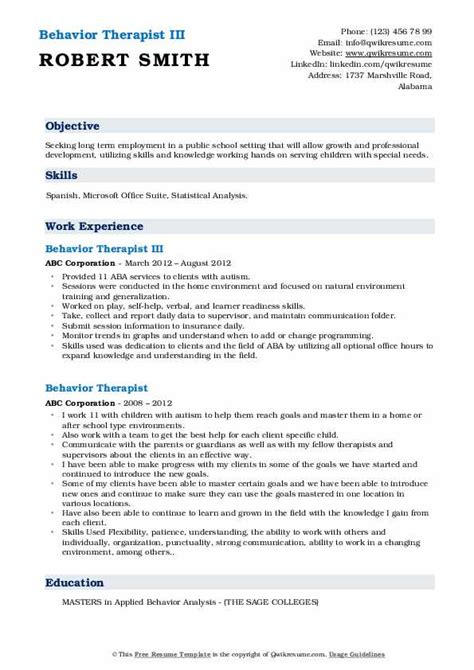 behavior therapist resume samples qwikresume