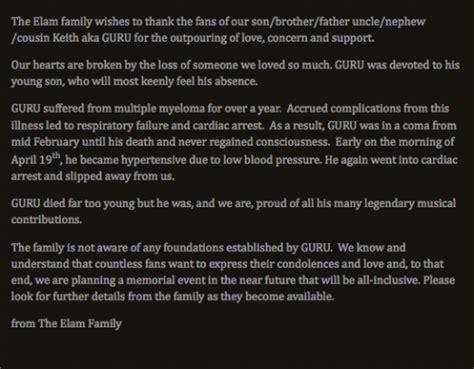 Guru's Family Release Statement On Death