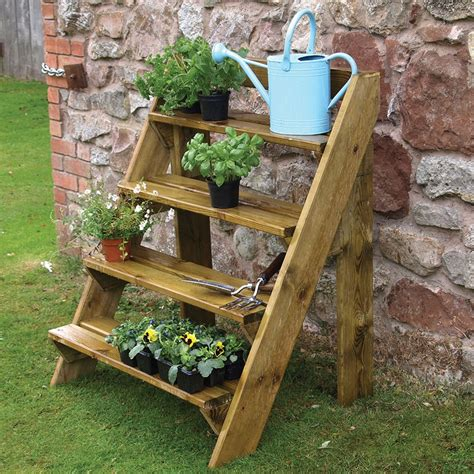 grange wooden steps garden plant pot stand wooden steps