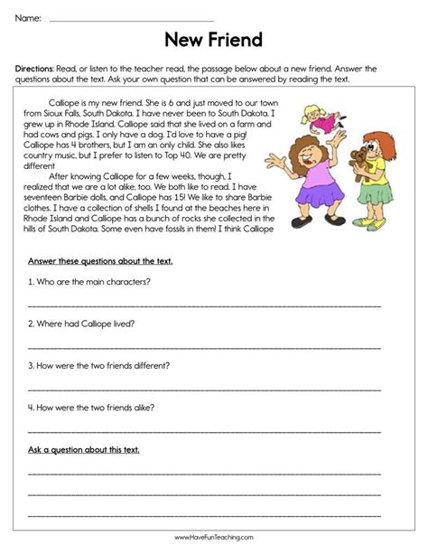 friend reading comprehension worksheet  fun teaching