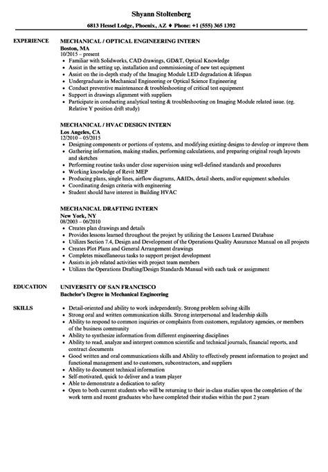mechanical intern resume sles velvet