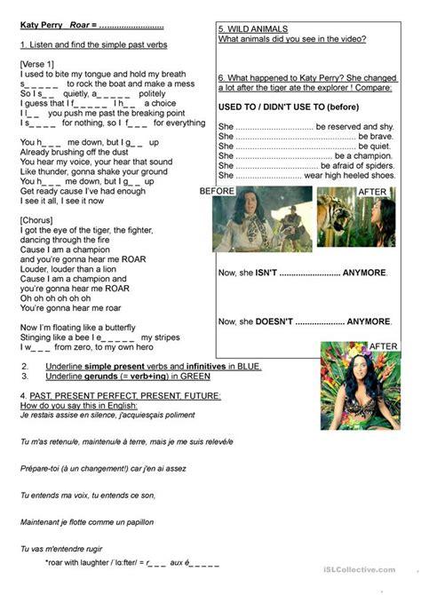song katy perry roar worksheet free esl printable