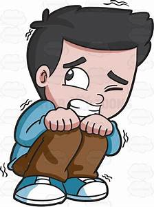 A Scared Young Boy Cartoon Clipart - Vector Toons