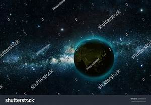 Planet Earth At Night With Space Background Elements Of ...