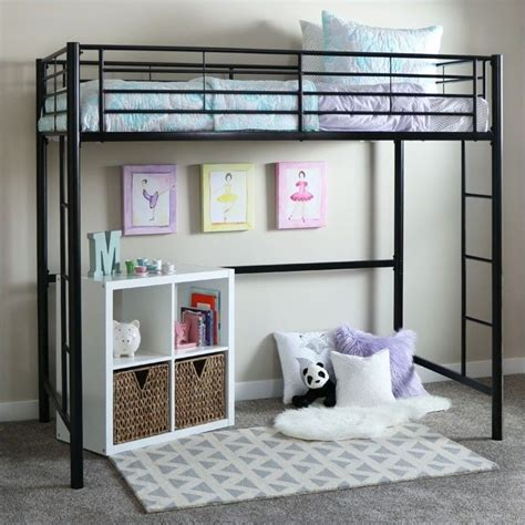 loft bed walker edison sunset metal loft bunk bed in black