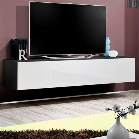 meuble tv mural design quot fly i quot 160cm blanc noir