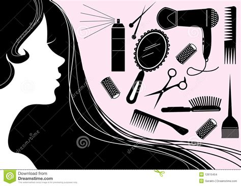 Hairstyle Elements For Salon With Face. Vector Silh Stock