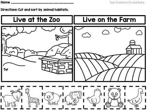 animal habitats printable book sorting worksheets