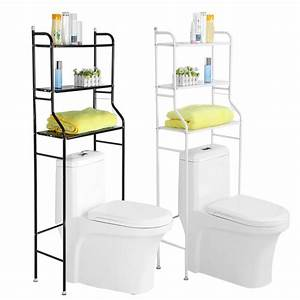 3, Tier, Iron, Toilet, Towel, Storage, Rack, Holder, Over, Bathroom, Shelf, Organizer, Black, White, Optional