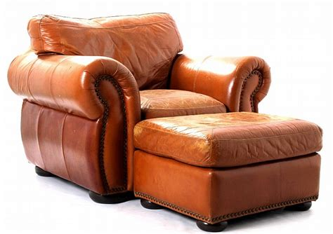 Leather Oversized Arm Chair & Ottoman
