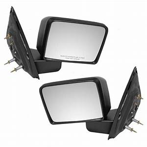 Pair Set Square Manual Side View Mirrors Textured For 04