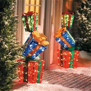 Lighted Christmas Decoration 3 Stacked Gift Boxes Outdoor
